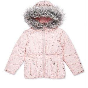 2t pink foil print puffer jacket NWT
